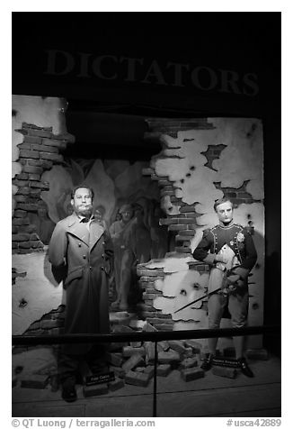 Wax figures of dictators of unequal historical importance, Madame Tussauds. San Francisco, California, USA (black and white)