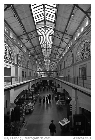 Main gallery inside Ferry Building. San Francisco, California, USA (black and white)