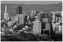 San Francisco skyline from Twin Peaks, late afternoon. San Francisco, California, USA (black and white)