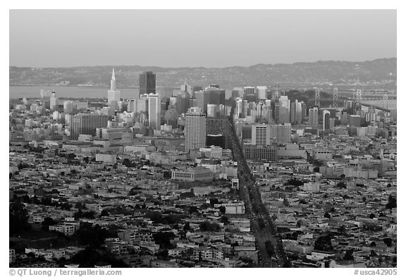 San Francisco cityscape with last sunlight from Twin Peaks. San Francisco, California, USA (black and white)