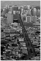 Market Avenue and downtown viewed from above at sunset. San Francisco, California, USA ( black and white)
