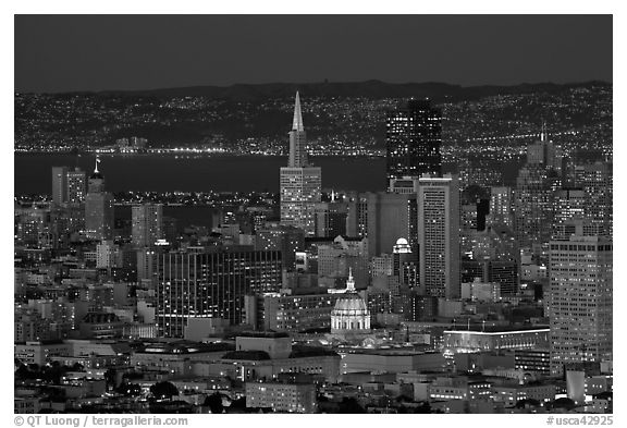 San Francisco downtown skyline at night. San Francisco, California, USA (black and white)