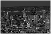 San Francisco downtown skyline at night. San Francisco, California, USA ( black and white)