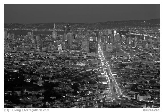 Wide night view of San Francisco from above. San Francisco, California, USA (black and white)