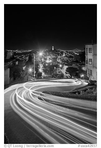 Light blurs on Lombard Street at night. San Francisco, California, USA (black and white)