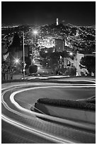Tight hairpins turn by night on Lombard Street. San Francisco, California, USA ( black and white)