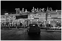 Mels drive-in dinner at night. San Francisco, California, USA (black and white)