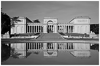California Palace of the Legion of Honor with reflections, early morning. San Francisco, California, USA ( black and white)
