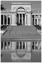 Entrance of Palace of the Legion of Honor reflected in pool. San Francisco, California, USA ( black and white)