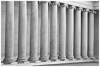 Row of columns, Legion of Honor, early morning, Lincoln Park. San Francisco, California, USA ( black and white)