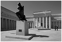 Forecourt of California Palace of the Legion of Honor with The Thinker by Auguste Rodin. San Francisco, California, USA ( black and white)