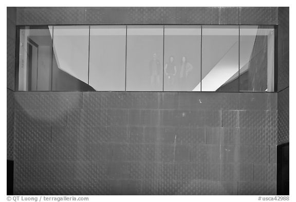 Copper-covered wall and bay window, De Young museum. San Francisco, California, USA (black and white)