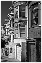 Colorful Victorian houses, Haight-Ashbury District. San Francisco, California, USA (black and white)