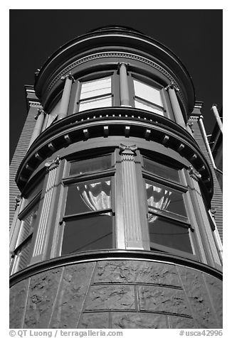 Brightly painted blue tower of Victorian house, Haight-Ashbury District. San Francisco, California, USA (black and white)