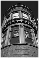 Brightly painted blue tower of Victorian house, Haight-Ashbury District. San Francisco, California, USA ( black and white)