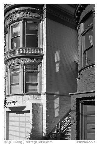 Victorian houses detail, Haight-Ashbury District. San Francisco, California, USA (black and white)