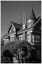 Red victorian house, Haight-Ashbury District. San Francisco, California, USA ( black and white)