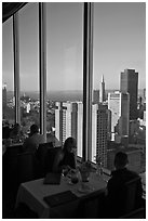 Rooftoop restaurant dining with a view. San Francisco, California, USA ( black and white)