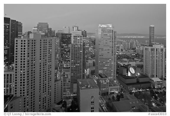 High-rise buildings and SF MOMA at dusk from above. San Francisco, California, USA (black and white)