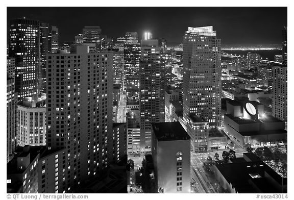 High-rise buildings and SF MOMA at night from above. San Francisco, California, USA (black and white)