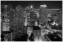 High-rise buildings and SF MOMA at night from above. San Francisco, California, USA ( black and white)