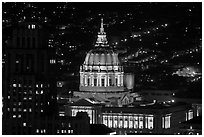 City Hall at night from above. San Francisco, California, USA (black and white)
