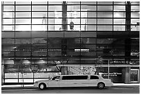 Limousine and glass building. San Francisco, California, USA ( black and white)