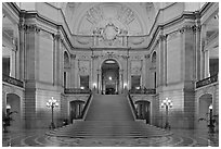 Inside San Francisco City Hall. San Francisco, California, USA (black and white)