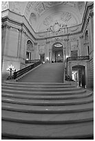 Interior grand stairs, City Hall. San Francisco, California, USA (black and white)