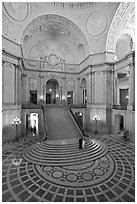City Hall rotunda interior. San Francisco, California, USA (black and white)