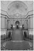 Rotunda of beaux-arts style City Hall. San Francisco, California, USA ( black and white)
