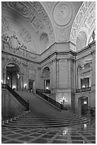 City Hall interior. San Francisco, California, USA (black and white)