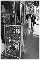 Sidewalk on rainy day. San Francisco, California, USA (black and white)