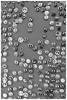 Buttons with peace symbols. San Francisco, California, USA (black and white)