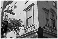 Corner of  Haight Street and Ashbury Street. San Francisco, California, USA ( black and white)