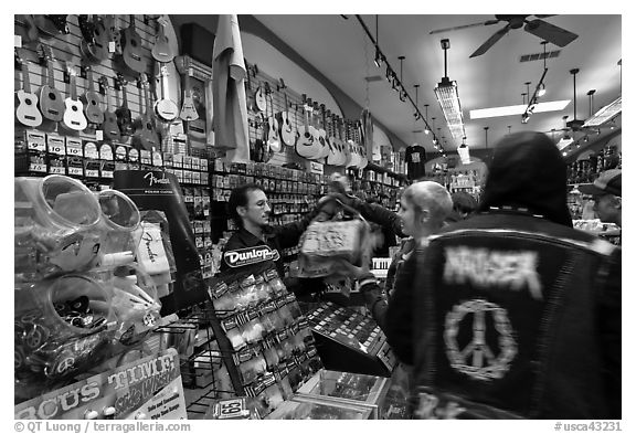 Inside music store. San Francisco, California, USA (black and white)