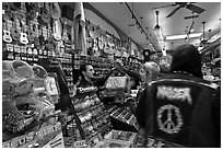 Inside music store. San Francisco, California, USA ( black and white)