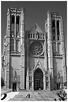 Grace Cathedral facade. San Francisco, California, USA (black and white)