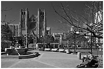 Huntington Park and Grace Cathedral. San Francisco, California, USA ( black and white)