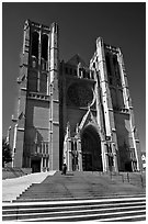 Grace Cathedral from the front steps. San Francisco, California, USA ( black and white)