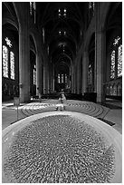 Stoup and Grace Cathedral nave. San Francisco, California, USA ( black and white)