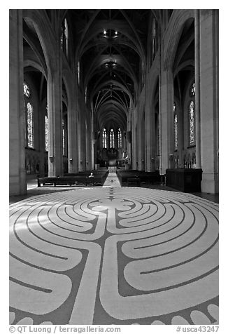 Labyrinth and nave, Grace Cathedral. San Francisco, California, USA (black and white)