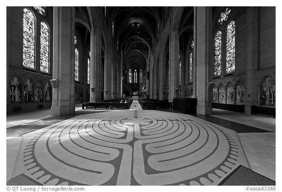 Labyrinth inside Grace Cathedral. San Francisco, California, USA