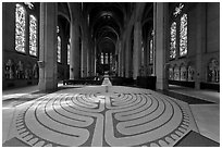 Labyrinth inside Grace Cathedral. San Francisco, California, USA ( black and white)