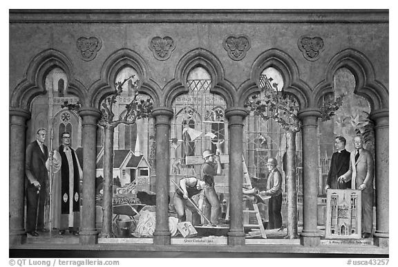 Fresco depicting building of the current cathedral, Grace Cathedral. San Francisco, California, USA (black and white)