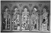 Fresco depicting building of the current cathedral, Grace Cathedral. San Francisco, California, USA ( black and white)
