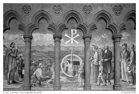 Fresco depicting the old Grace Chapel, Grace Cathedral. San Francisco, California, USA (black and white)