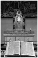 Bible and crucifix, Grace Cathedral. San Francisco, California, USA ( black and white)