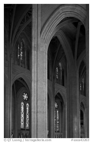 Detail of gothic-style vaulted arches, Grace Cathedral. San Francisco, California, USA (black and white)