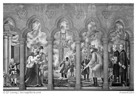 Fresco depicting the fire destroying the old Grace Cathedral, Grace Cathedral. San Francisco, California, USA (black and white)